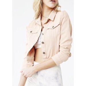 NWOT Light Pink/Taupe Denim Jacket